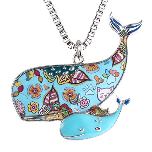 (Luckeyui Blue Whale Necklace Gift for Women Unique Enamel Sea Animal Large Pendants)