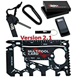 37-in-1 Credit Card Multitool Dad Gifts | BEST GIFTS FOR DAD: Multi-purpose Pocket Tool & Gagets | Cool Tools for Men in a Wallet Survival Card Gift Set - Black Edition v2.1
