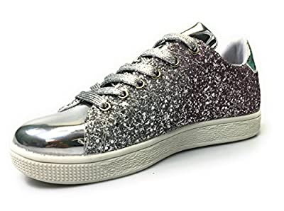 Forever Link Women's Glitter Fashion Sneakers (10, Silver Glitter-1)