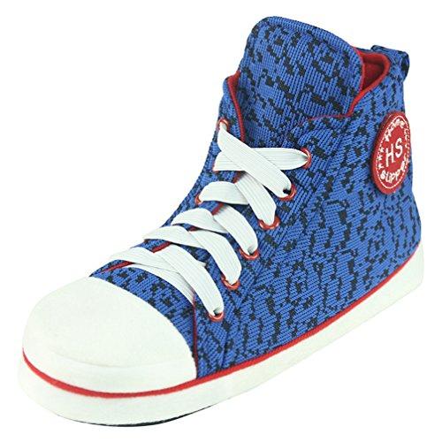 Pantoufle Confortable Maison Baskets Sneakers Pantoufles En Peluche Pour Les Hommes Avec Motif Bleu Diversifi