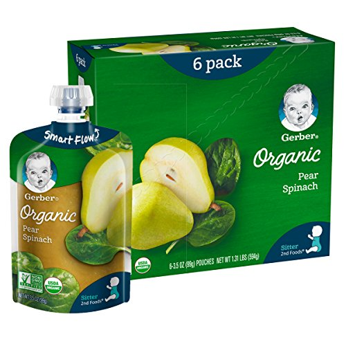 51LZ0mD1KNL - Gerber Purees Organic 2nd Foods Baby Food Fruit & Veggie Variety Pack, 3.5 Ounces Each, 18 Count