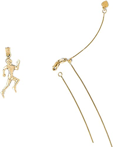 Box or Curb Chain Necklace 14k Yellow Gold Road Runner Pendant on a 14K Yellow Gold Rope