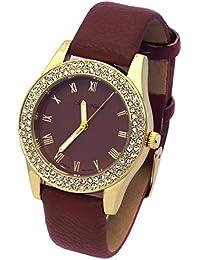 Ladies Gold Tone Violet Leather Band Fashion Casual Quartz Wrist Watch Watches Mark Naimer