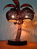 Wooden Bedside Table Lamps of Coconut Shell - Asian Night Light Wood Shades, Desk Lamp, Handmade