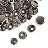 Pack of 15 Completed Sets Gunmetal Black Snaps Fasteners Press Studs Poppers For Leather Craft ,Clothing, Jacket (17 mm (201))