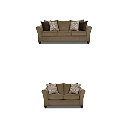 Simmons Upholstery Albany 2 Pc Living Room Set With Sofa And Love Seat Truffle