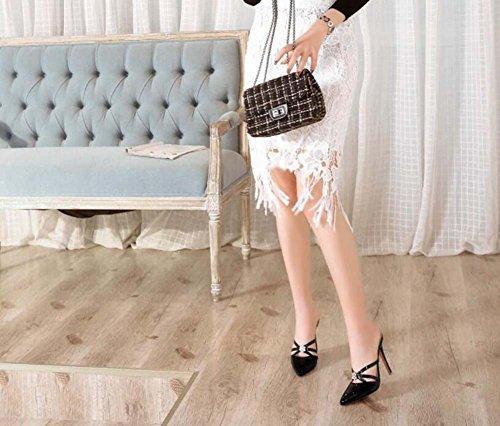 34 tacco a Nero Beige Scarpe con a SHINIK donna Bianco con Sandali 39 Giallo spillo punta Taglia cristalli Nero Rosa Tacco Scarpe alto dFYnqqwR
