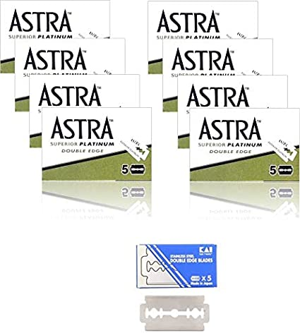 40 Cuchillas de afeitar ASTRA - Superior Platinum + 1 cuchilla de afeitar KAI Stainless Steel gratuita