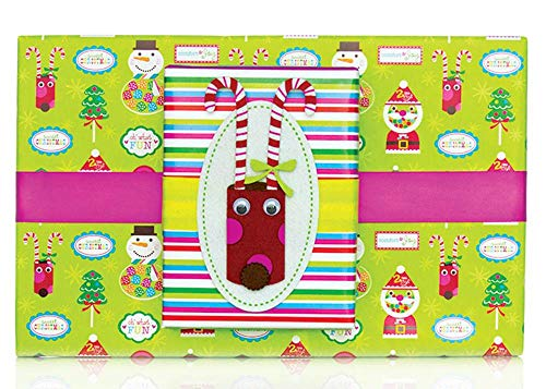 Reversible Sweet Candy Santa Claus Christmas Gift Wrap Wrapping Paper - 15 Foot Roll