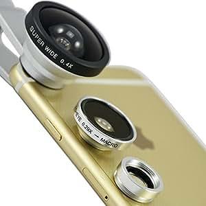 First2savvv JTSJ-CJ3-16 - Pack de lentes para Sony Ericsson Xperia S (ojo de pez, súper gran angular, micro, incluye paño de limpieza), plateado