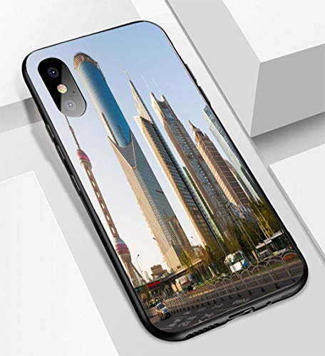 (iPhone X/XS Ultra-Thin Glass Back Phone case,Shanghai Oriental Pearl and Skyscrapers Soft and Easy to Protect The Protective case)