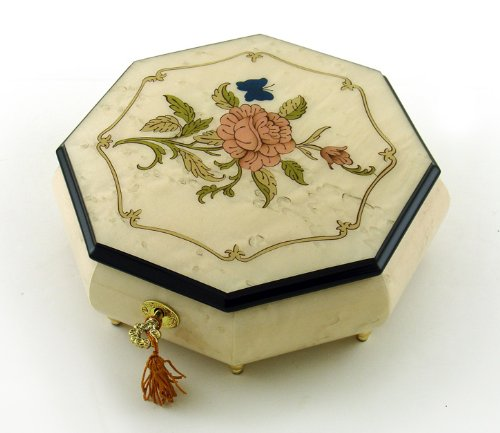 Immaculate Ivory Stain Octagonal Music Jewelry Box, Rose & Butterfly Inlay - Heaven is in Blue Hawaii (Paul Koy) - SWISS by MusicBoxAttic