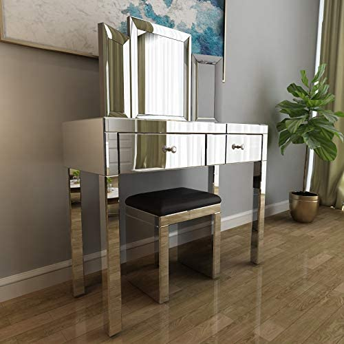 Mecor Mirrored Vanity Table Set w Tri-fold Mirror Cushioned Stool Silver Makeup Dressing Table with 2 Drawers Modern Writing Desk for Bedroom Bathroom Home Office