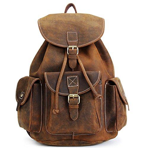 """Kenox 16"""" Genuine Leather Laptop Backpack Vintage College Sc"""