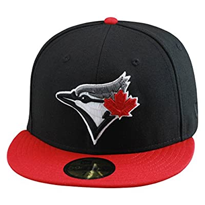New Era 59fifty Toronto Blue Jays Fitted Hat Cap BLACK/RED mlb