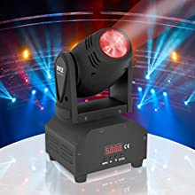Rotating DJ Party Stage Light - Moving Head Professional Night Club Disco Stage Lights w/ RGB Color LED Projector Bulb, Flashing Disco Strobe, Beat Sync Motion Effect and DMX Control - Pyle PDJLT40