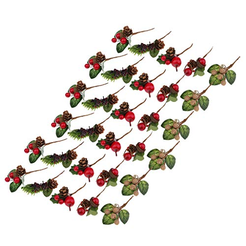 Prettyia 30 Bouquets Plastic Fake Small Berries Pine Cone Artificial Flower for Wedding DIY Gift Box Greeting Wish Cards Decoration