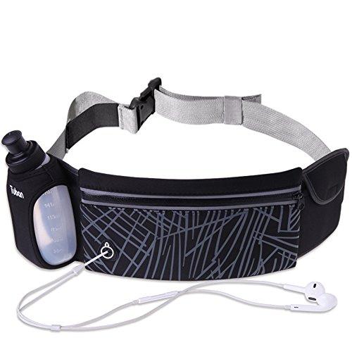 Running Belt,Uleade Adjustbale Fitness Belt with Water bottle, Waterproof Reflective Zipper Waist Pack for Runners, Race, Marathon, Hiking - Men and Women (Black)