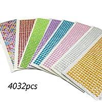 DoTebpa 4032 Pieces 6mm Colorful Bling Rhinestone Sticker Sheet Gem Diamond self Adhesive for Scrapbooking Embellishments and DIY Crafts,Wedding,Decor
