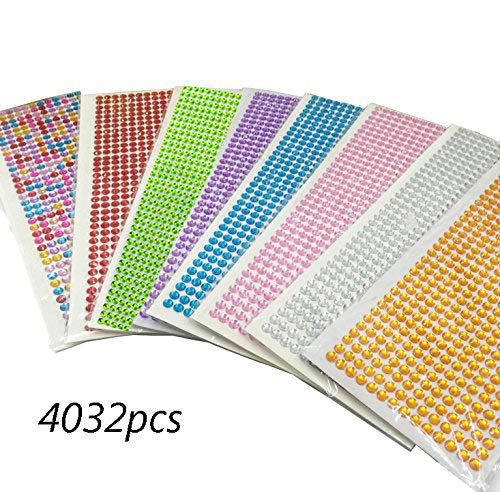 DoTebpa 4032 Pieces 6mm Colorful Bling Rhinestone Sticker Sheet Gem Diamond self Adhesive for Scrapbooking Embellishments and DIY Crafts,Wedding,Decor