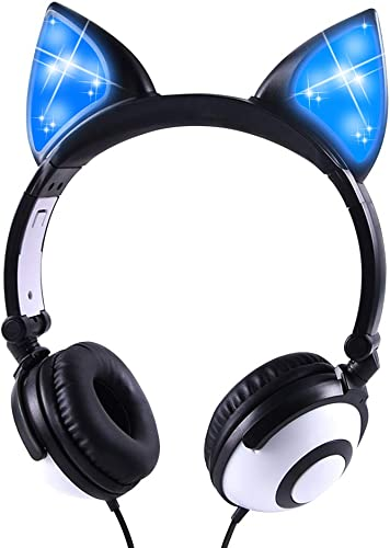 Kids Headphones Cat Ear Support 3.5 mm Audio Jack On Ear Headset, 85dB Volume Limited Cute Boys Teen Headphones Black
