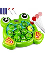KKONES Music Super Frog Game Toddler Toys - 2 Hammers Baby Interactive Fun Toys Toddler Activities Games with Music&Light for Kids Ages 2 3 4 5 6 7 8 Boys Girls