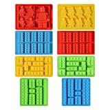 Silicone Candy Molds Chocolate Tray - Ice Cube Molds Building Blocks and Robots for Lego Lovers, Cake Decorating, Making Candy, Crayon, Set of 8