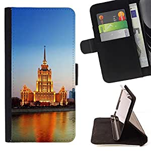 BETTY - FOR Samsung Galaxy S6 EDGE - Lighted Building River - Style PU Leather Case Wallet Flip Stand Flap Closure Cover