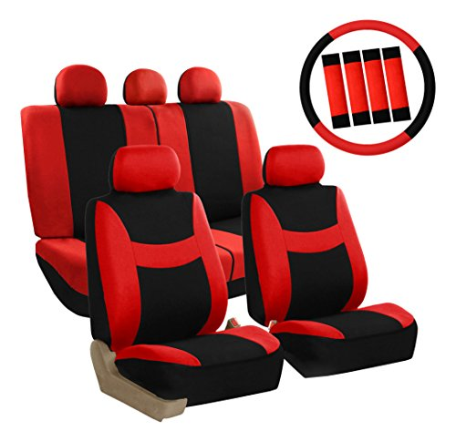 (FH Group FB030RED115WB-AVC Combo Set with Steering Wheel Cover and Seat Belt Pad (Airbag Compatible and Split Bench Red))