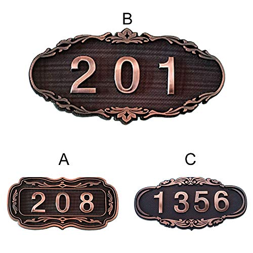 (Aspire Customized Home Address Plaque Sign, House Hotel Office Apartment Room Number Sign, Small Size, Self-stick, 3 or 4 Numbers Only-B)