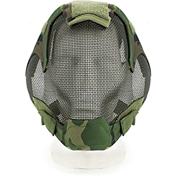 haoyk Tactical Airsoft Acero neto malla de jardín Cosplay máscara funda completa cara protección militar Paintball