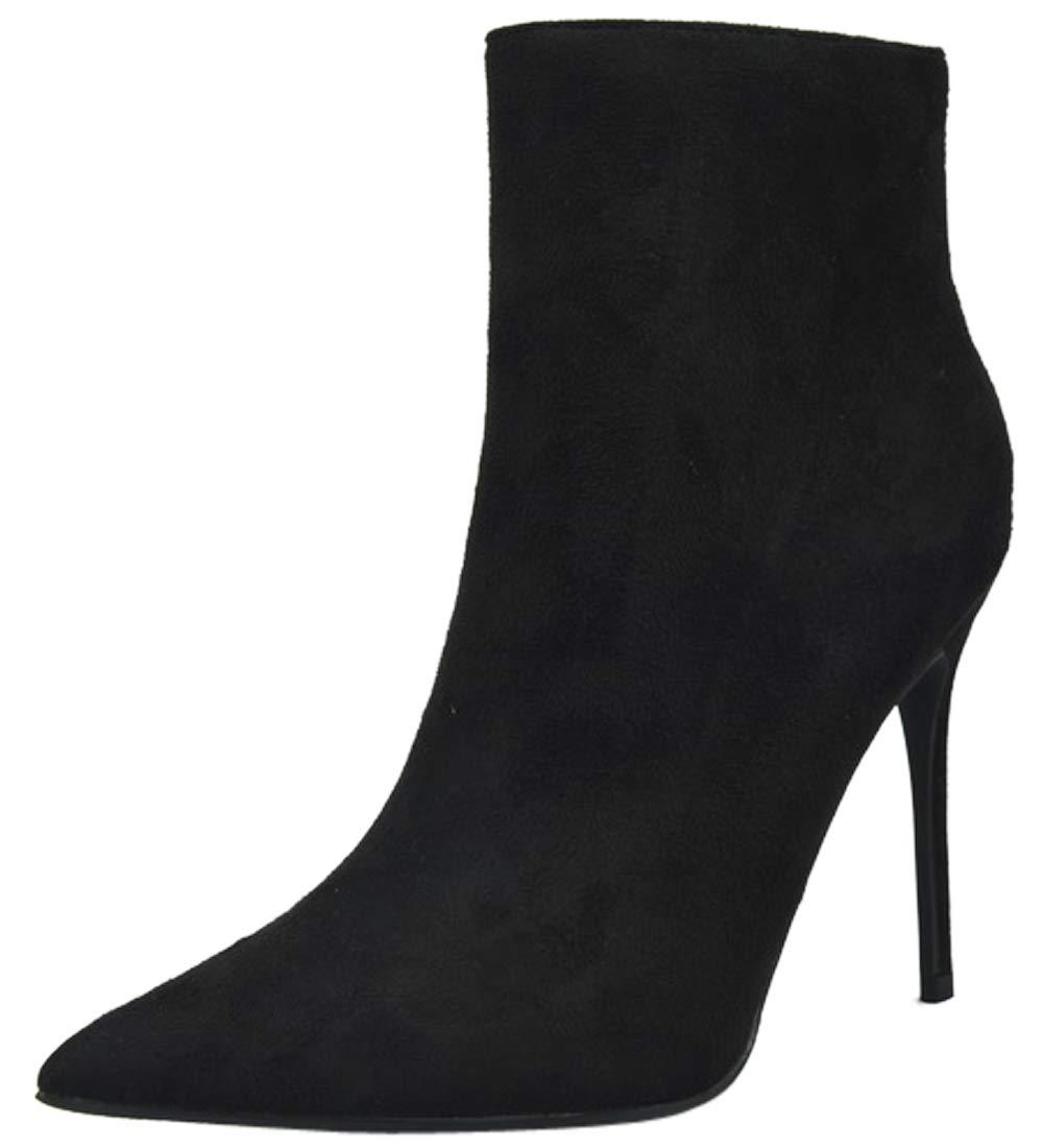 BIGTREE B07HF56XXS Femmes Bottines à Stiletto Talons Faux Suède Grande Taille Taille Mode Classique Bout Pointu à Enfiler Chaussures Noir abdff2c - boatplans.space