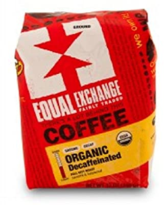 Equal Exchange Organic Coffee | Decaf | Full-Bodied with Sweet Nutty and Vanilla Flavor | Balanced with Caramelized Sugar and Chocolate Flavor | Ground | 12-Ounce Bags | Pack of 3