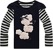 Richie House Little Girls Blue Sassy Poodle Bow Top 2-8 RH0264