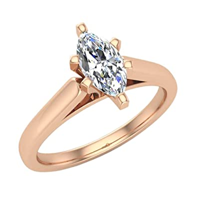 60201deaa1 Marquise Cut Diamond Engagement Ring for women 1/2 carat 14K Gold 4 Prong Solitaire  Setting (G, VS1) | Amazon.com