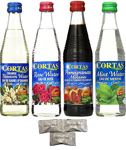 4 Flavors Cortas Premium Water ( Rose Water, Orange Blossom Water, Mint Water, Pomegranate Molasses) 10fl oz. Imported from Beirut Lebanon. Includes Exclusive HolanDeli Chocolate Mints.