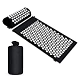 Acupressure Mat and Pillow Set, Acupressure Yoga Mat with Acupressure Pillow and Storage Bag for Back and Neck Pain Relief and Muscle Relaxation Massage, Black