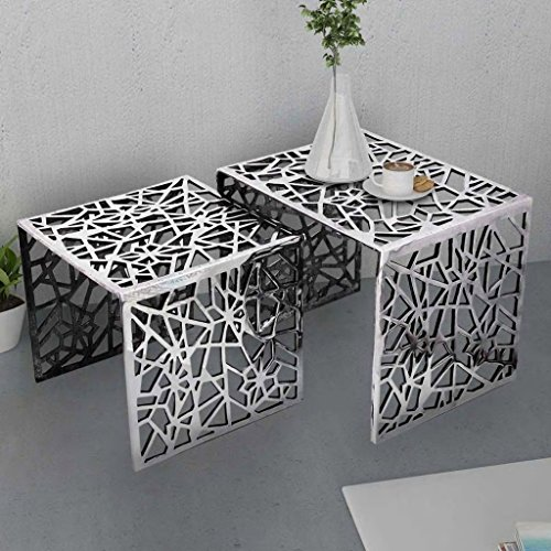 - Festnight Set of 2 Nesting End Side Table Aluminum Square Coffee Tables Stackable Table Set Geometric Openwork Design for Living Room Small Place Home Furniture