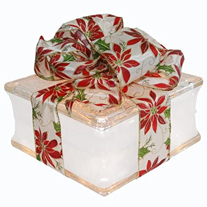 illuminated glass block christmas decoration with 4 white border poinsettia ribbon