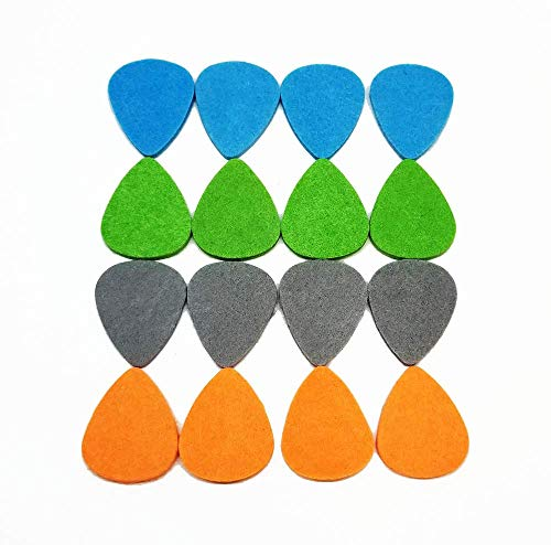 Felt Ukulele/Guitar Picks, Multicolored, Pack of 16
