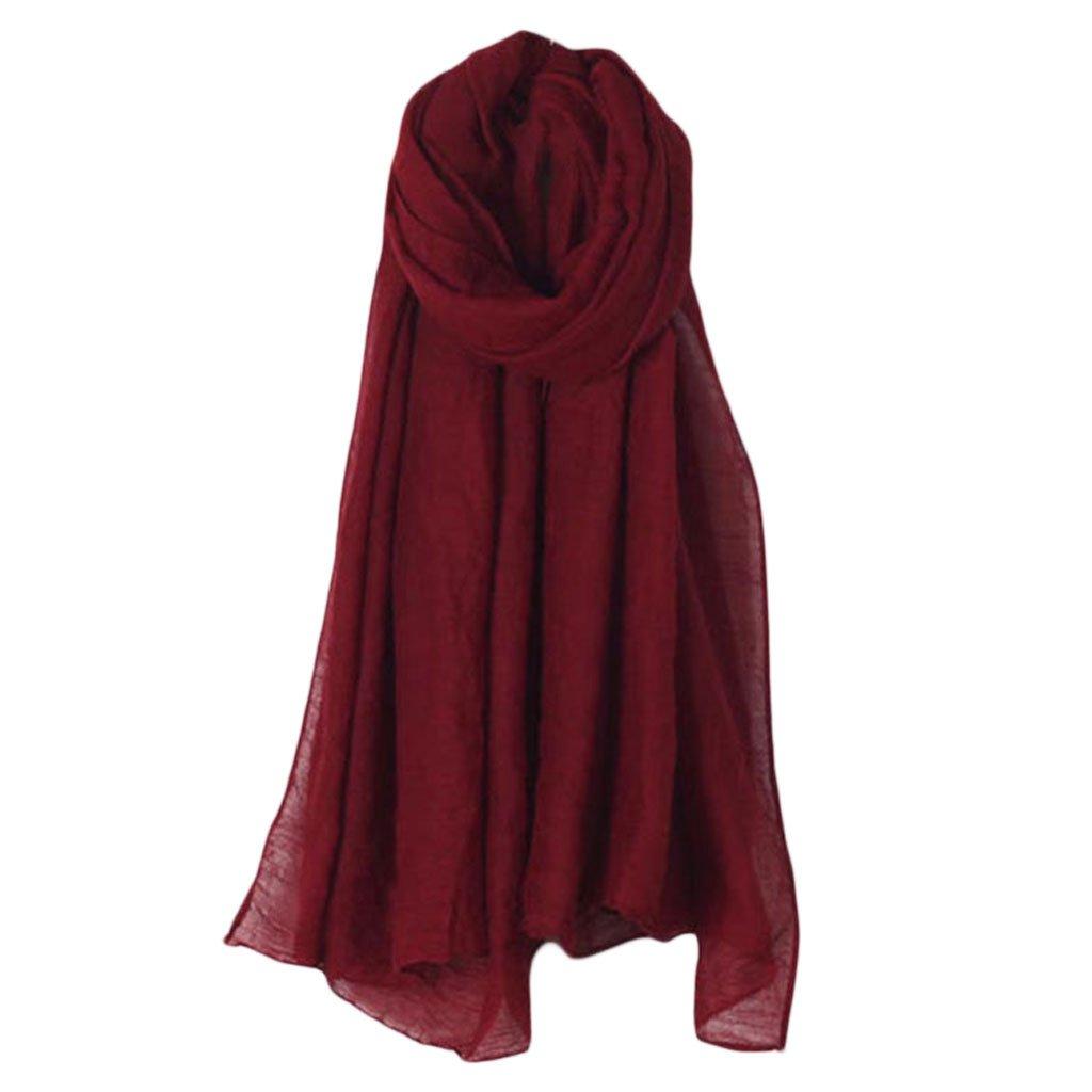 GROOMY - Donna - Sciarpa Lunga in Tinta Unita - Sciarpa in Cotone Vintage - Grande Scialle Hijab Elegante - Beige