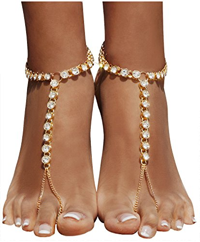 9a5a4419ef9107 2 Pieces Women s Foot Chain Barefoot Sandals Beach Wedding Jewelry Anklet  with Rhinestone Toe Ring