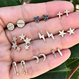 Weiy 9Pairs Simple Stylish Moon Star Heart Cross Lightning Pin Design Crystal Stud Earrings Set Fashion Lovely Charming Gold Earrings Nice Jewelry Accessories Gift for Women Girls