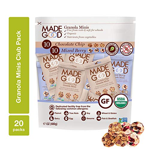MadeGood Granola Minis Club Pack (20 ct, 0.85 oz. each); 10 Bags Chocolate Chip and 10 Bags Mixed Berry Granola Minis; Vegan, Gluten-Free, Allergy-Friendly, Organic, Non-GMO Snacks -