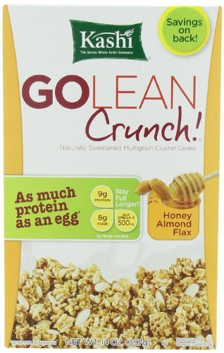 Kashi - Go Lean Crunch Cereal, Honey Almond Flax, 14 oz. (Pack of 3 ) (Peanut Kashi Butter)