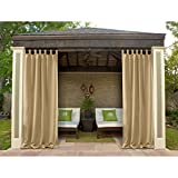 Macochico 120Wx 96L Outdoor Extra Wide Waterproof Curtains Panels Privacy Protection Thermal Insulated Dustproof Noise Buffer for Bedroom Living Room Patio Garden Gazebo Wheat (1 Panel)