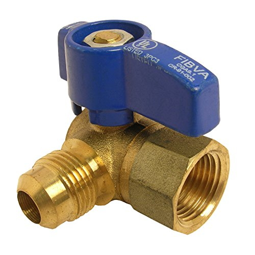 LASCO 10-1617 Angle Gas Ball Valve with 1/2-Inch Flare and 1/2-Inch Female Pipe Inlet, Brass . Colors May Vary 1/2 Gas Ball Valve