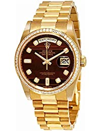 Day-Date Chocolate Bulls Eye Diamond Dial Automatic Men's 18kt Yellow Gold President Watch 118398CHBEDP