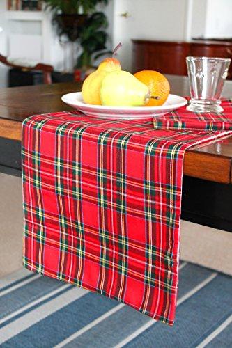 Christmas Table Runner Red Plaid Runner Fully Lined (12.5