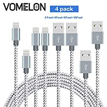 Lightning Cable, [3FT+6FT+6FT+10FT] Nylon Braided Lightning to USB Syncing and Fast Charging Cable Data Cord Compatible with iPhone 7/7 Plus/6S/6 Plus, SE/5S/5, iPad, iPod Nano 7-[Grey + White]